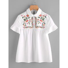 Embroidered Yoke Buttoned Keyhole Frill Sleeve Smock Top (245 MXN) ❤ liked on Polyvore featuring tops, blouses, white, ruffle collar blouse, cotton blouse, white short sleeve blouse, ruffle sleeve blouse and embroidery blouses