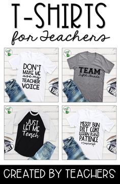 Teacher t-shirts with funny ideas and teacher truths are perfect for teachers of kids and students in kindergarten, first grade, and all the way to high schools! Stay cute and stylish with these cute, awesome teacher t-shirt designs. Teaching is tough. Teaching Secondary, Teaching Plan, Summer Teacher Outfits, School Teacher, Kindergarten Teacher Shirts, Teaching Shirts, Math Teacher, Teacher Style, School Shirts