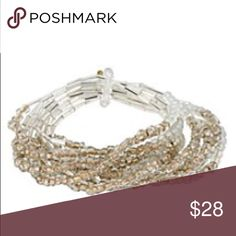 """New Kenneth Cole Seed Bead Multi Row Bracelet Chic and breezy, the Kenneth Cole Goldtone Seed Bead Bracelet Set is a sweet finishing touch for your favorite ensembles. Ten slender bracelets made of bugle, cherry and seed beads can be worn individually for understated style or all together for a true fashion-forward statement piece. With a comfy stretch design, this bracelet set is convenient as well as pretty. Goldtone 7.5""""L x 1.25""""W Set of 10 bracelets Stretch Bugle beads/faceted cherry…"""