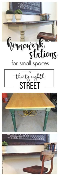 Thirty Eighth Street | Shows You How To Create This Farmhouse Rustic Desk From An Inexpensive Kitchen Table. An Easy Furniture Makeover With Amazing Value And Functionality! Create Wall Mounted Desks or Homework Stations For Your Bedroom, Playroom or Office!
