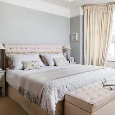 Grey bedroom ideas grey wall neutral curtains