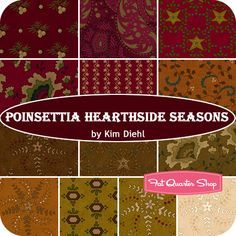 Poinsettia Hearthside Seasons Fat Quarter Bundle Kim Diehl for Henry Glass Fabrics #FQSgiftguide #familyandfriends