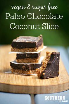Healthy Paleo Chocolate Coconut Slice Recipe - paleo, vegan, healthy, gluten free, grain free, sugar free, no bake, raw, clean eating recipe