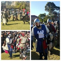 Battling forces at Winterfest Medieval Fair last weekend at Old King's School Park in Parramatta.  #knights #armies #recreation #medievalfestival #Winterfest #Parramatta #NSW #Sydney #Australia #swords #armor #armour #battle