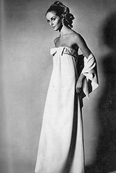 Elegant strapless white dress with pearl and gold embroidery by Susan Small, photo by Henry Clarke for Vogue 1967