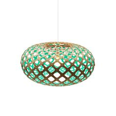 KINA - Lámpara de techo Madera Natural/Turquesa Ø44cm David Trubridge 440 €