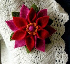 Felt Pointsettia - brooch or gift wrap topper