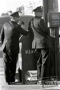"""Call Box Cops. Story has it, that the Call Box was used to store more than just a phone. Officers would put citations and sometimes a small bottle to take a """"nip"""" now and then."""