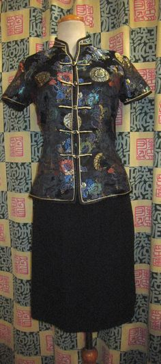 50s Vintage BLACK CHINESE Mandarin Top Blouse 1950s by Flipsville