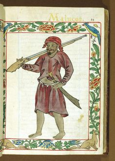 eastiseverywhere:  A warrior from the Moluccas,Boxer CodexPhilippines (c.1595)[Source]The Moluccas, now known as the Maluku Islands, are a part of Indonesia just south of the Philippines.More posts about the Boxer Codex here!