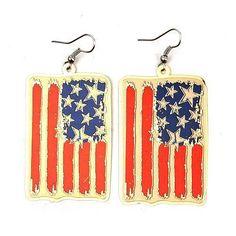 American US Flag Ol Glory Gold Plated Pierced Hook Earrings Americana USA Seller #Unbranded #DropDangle