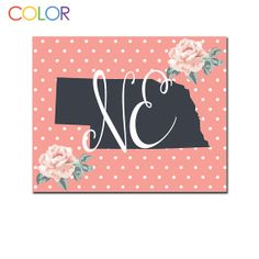 Nebraska State Printable ArtPink and White by ColorPrintables, $5.00