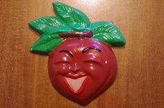 Vintage Plaster Chalkware 1950s Apple Fruit Face by retrowarehouse, $10.00