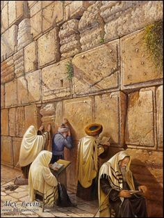 Praying at the Kotel, painting by Alex Levin