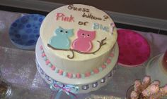 owl gender reveal cakes - Google Search
