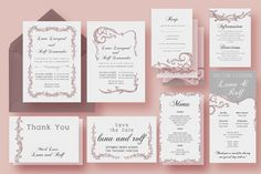 Vine Wedding Invitation Suite by Knotted Design on Creative Market