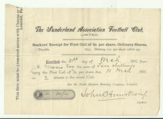 England, The Sunderland Association Football Club, First call for the share payment, 1896