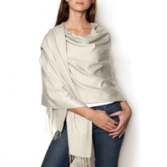 Solid Pashmina Shawl in ivory
