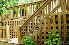 photos of railing for outside steps | Wood Deck Steps And Railing Royalty Free Stock Photo - Image: 5586165