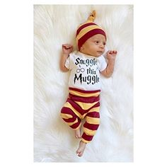 Amazon.com: Charm Kingdom Infant Newborn Baby Boys Girls Snuggle this Muggle Bodysuit Romper and Striped Pants With Hat Clothes Outfit Set: Clothing