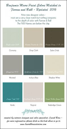 9 New Farrow & Ball Colors 2016 - Matched To Benjamin Moore | A Follow up to last year's color match between F&B and BM | Don't get me wrong. I love F&B but some people can't spend 100 bucks for a gallon of paint and/or don't want to have to deal with the expense/hassle of shipping if they don't have a dealer nearby.