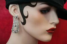 Art deco waterfall vintage rhinestone earrings - kikulu vintage jewellery and handmade jewellery Vintage Jewellery, Handmade Jewellery, Vintage Costume Jewelry, Vintage Costumes, Vintage Earrings, Black Rhinestone, Rhinestone Earrings, Vintage Rhinestone, Stud Earrings
