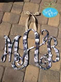 """18"""" Interlocking Wooden Monogram Cutout Hand Painted and Customized in Personal Photos - Perfect for Wedding and Engagement"""