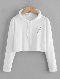 #ROMWE - #ROMWE Rain Print Crop Hooded Sweatshirt - AdoreWe.com