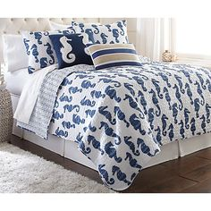Elise & James Home bring a sophisticated style to your home with this Seymour Seahorse quilt set, featuring a seahorse design. This quilt set features a...