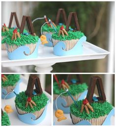 Camp Cupcakes complete with Paul Scherer Hirschi'S Chocolate tents, campfire and fishing pole Camp Cupcakes, Fishing Cupcakes, Love Cupcakes, Themed Cupcakes, Party Cupcakes, Camping Cakes, Hershey Candy Bars, Camping Parties, Camping Lunches