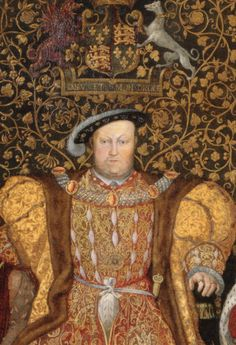 Henry VIII.  Love the gold, scrolling design of the backdrop.  His duds aren't too bad either!