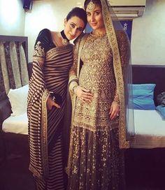 lovely picture of Karisma Kapoor with sister Kareena Kapoor Khan, latter in #Sabyasachi @ #LakmeFashionWeek #AW16 17, Aug end