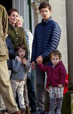 (L-R) Princess Marie with her children step son Prince Nikolai, Prince Henrik and Princess Athena of Denmark attend the Hubertus Hunting Event in Dyrehaven, Klampenborg, 02.11.2014.