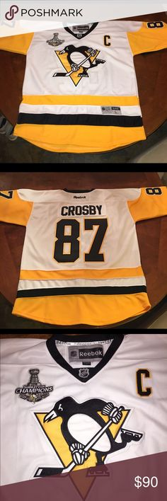 Sidney Crosby Pittsburgh Penguins Hockey Jersey New stitched Pittsburgh Penguins Sidney Crosby #87 Hockey Jersey White with Stanley Cup Champions patch. Other