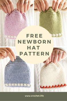 Hat pattern free crochet gifts ideas for 2019 Crochet Baby Hat Patterns, Baby Patterns, Easy Crochet Baby Hat, Newborn Girl Crochet Hat, Crochet Gifts, Diy Crochet, Knitting Projects, Crochet Projects, Newborn Hats