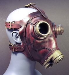 ɛïɜ  Gas Mask Steampunk No.43 in Deep Red Leather ~ Tom Banwell Designs *** Leather Masks & Steampunk ~ Etsy Shop ɛïɜ