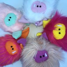 Finishing up some new Fuzzling and listing them in my shop  Everybody smile! Fuzzling: Handmade plush monster.