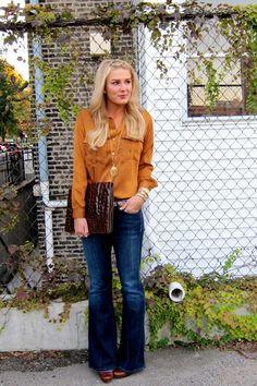 Mustard Zara Blouses, Navy Flare Hudson Jeans