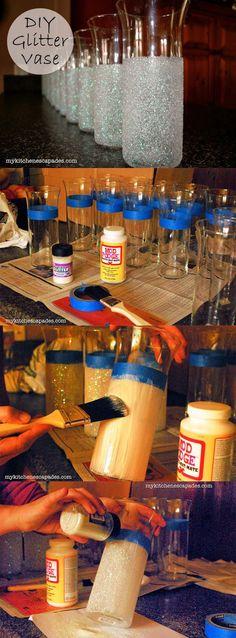 diy glitter vases for wedding decoration ideas: