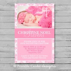 Girl Baptism or Christening Invitation  DIY by printablecandee, $10.00