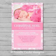 Girl Baptism or Christening Invitation - DIY Custom Printable on Etsy, $10.00