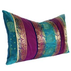 Turquoise, Purple and Gold Indian Sari Stripe Oblong Pillow Cover 12 … ❤ lik… – blue accent pillow Turquoise And Purple, Turquoise Walls, Deep Purple, Purple Gold, Colour Schemes, Colour Pallete, My New Room, Jewel Tones, Bohemian Decor