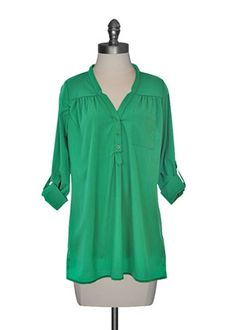 Button Front Tunic in Kelly Green
