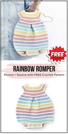 Crochet Rainbow Romper free pattern Crochet Rainbow Romper free pattern - easy crochet onesies pattern for beginners Crochet Romper, Crochet Bebe, Crochet Baby Clothes, Crochet For Kids, Easy Crochet, Free Crochet, Knit Crochet, Rainbow Crochet, Booties Crochet