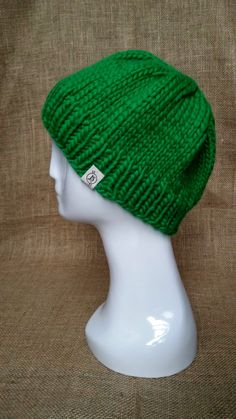 Handmade Hand Knit Bright Green Chunky Wool Hat with by JSWarmth