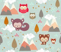 Happy Little Friends fabric by kimsa on Spoonflower - custom fabric