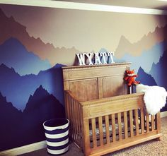 Mountaineer nursery More Baby Boy Rooms, Baby Bedroom, Baby Boy Nurseries, Kids Bedroom, Mountain Mural, Mountain Nursery, Nursery Themes, Nursery Decor, Nursery Ideas
