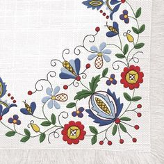 """Hungarian Embroidery Patterns Polish Folk Art Napkins (package of - 'Kaszub Fringe"""" - Earn 10 Points for every dollar you spend! Polish Embroidery, Hungarian Embroidery, Folk Embroidery, Embroidery Stitches, Embroidery Patterns, Machine Embroidery, Indian Embroidery, Decorative Paper Napkins, Polish Folk Art"""