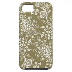 Vintage Antique Khaki and White Floral and Damask iPhone 5 Cases