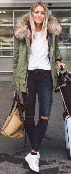 Faux Fur Collar Oversized Parka | Casual Winter Travel Style | Janni Delér #faux